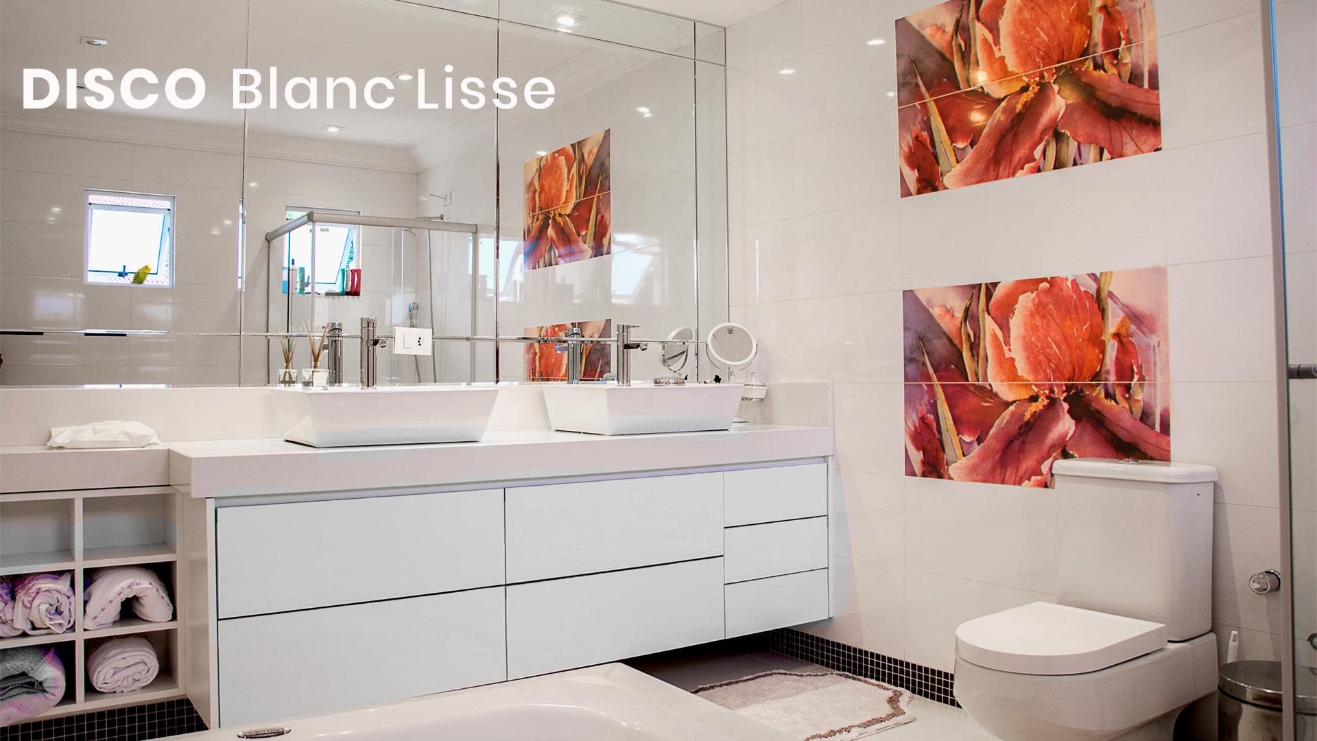 salle de bain disco blanc lisse